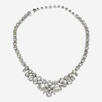 Signed Eisenberg Ice Crystal Rhinestone Necklace circa 1950s