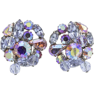 Signed Weiss Iridescent Periwinkle Aurora Borealis Beaded Cluster Clipback Earrings