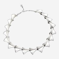 Late 20th Century Trifari White Enamel Folded Triangle Link Necklace