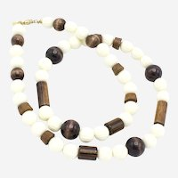 Kenneth Lane for Saks Fifth Ave Wood and Lucite Chunky Beaded Necklace c 1960s