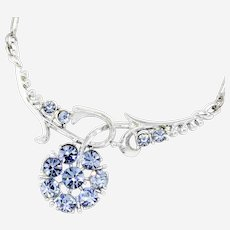 1950s Coro Periwinkle Blue Floral Rhinestone Necklace