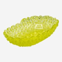 Hobbs, Brockunier & Co Canary Yellow (Vaseline) Daisy & Button Uranium Glass 10 in Oval Dish c 1880s