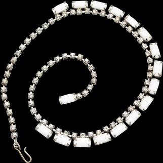 Mid-Century Milkglass and Crystal Rhinestone Necklace