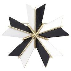 Signed Crown Trifari Black/White/Gold Modernist Star Brooch