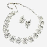 Vintage Silvertone Openwork Leaves Demi-Parure Necklace and Clipback Earrings Set