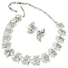 Vintage Silvertone Openwork Leaves Demi-Parure Necklace and Clipback Earrings Set