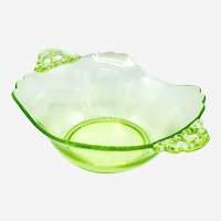 Bright Green Uranium Glass Handled Serving Bowl with Scalloped Rim