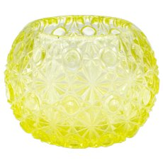 EAPG Vaseline Glass Daisy and Button Pattern Rose Bowl