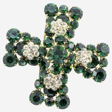 Signed Weiss Green and Clear Rhinestone Maltese Cross Brooch