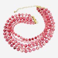 Five Strand Plastic Beaded Necklace circa 1950s