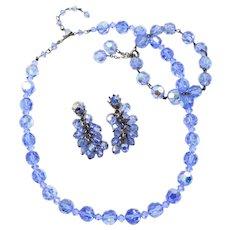 Mid-Century Vintage Iridescent Cornflower Blue Beaded Demi-Parure