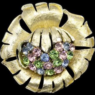 Coro Goldtone Pastel Rhinestone Flower Blossom Brooch