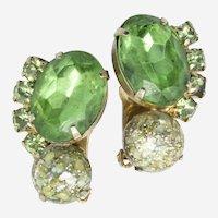 1960s Era Green Rhinestone Clipback Earrings