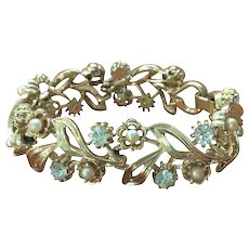 Signed Lisner Goldtone Faux Pearl and Crystal Rhinestone  Bracelet