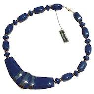 1960s Vintage Blue/Goldtone Lucite and Enamel Necklace