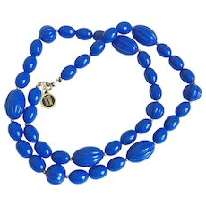 1950's era Bright Blue Genuine Lucite Beaded Necklace-New Old Stock with Tags
