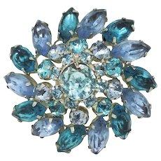 Domed Aqua & Lavender Rhinestone Brooch-unsigned beauty