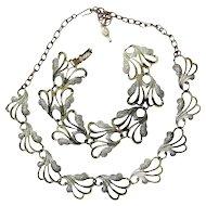 1960s Sarah Coventry Goldtone Flora Necklace and Bracelet Set