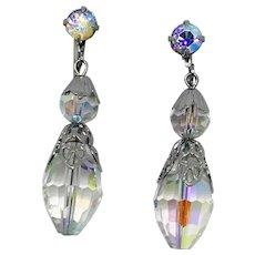 Faceted Crystal Beaded Drop Clip Earrings with Aurora Borealis Rhinestones