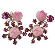 1950's Vintage Pink Rhinestone & Thermoset Rose Spray Clipback Earrings