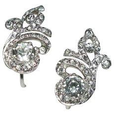 Art Deco Sterling Silver/Crystal Rhinestone Spiral Screwback Earrings
