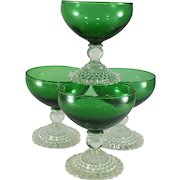 Mid-century Anchor Hocking Green Bubble Footed Champagne/Tall Sherbet-set of 4