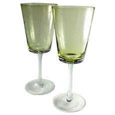 Large Light Green Etched Glass Goblets with Clear Stems-Pair
