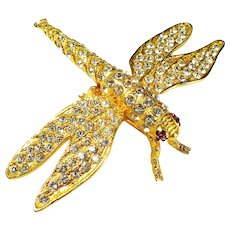 Large Gold-plated Mexican Dragonfly Brooch with Rhinestones