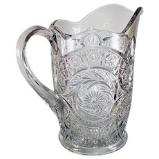 Antique (EAPG) Sextec Pitcher McKee Glass Pres-Cut 1906