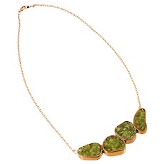 One-of-a-Kind Artisan Copper Peridot Necklace