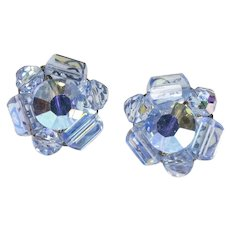Cornflower Blue Beaded Cluster Earrings-converted to pierced