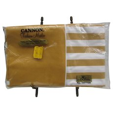 Vintage Sealed Cannon Cotton Muslin Pillowcases.  Gold Striped Pillow Cases.