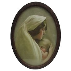 Small Oval Metal Framed Lithograph of Mother and Child