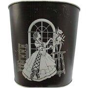 Southern Belle Metal Waste Basket.  Black with Gray Design