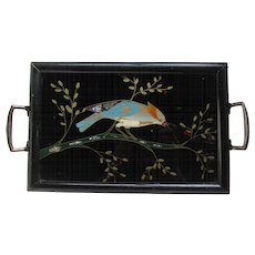 Small Tray with Handles.  Bird on a Branch.