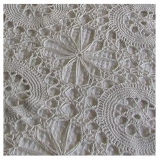 Hand Crocheted Vintage Tablecloth. Cotton Lace Table Cloth
