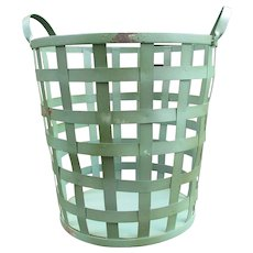 Vintage Metal Basket. Tall Laundry Basket. Farmhouse Decor. Porch or Garden Basket.