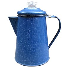 Blue Speckled Enamelware Coffee Pot or Tea Pot for Camping.