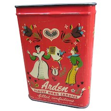 Arden Finest Hard Candies.  Filled Confections.  New York, N.Y. USA. 2 Lb. Candy Tin