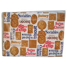 Nabisco Tablecloth 1970's,  Vinyl with Flannel Backing.  Cracker Advertising. Nabisco Cracker. Vintage