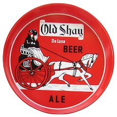 Vintage Old Shay De Luxe Beer Ale Tray.  Round Metal Bar Tray. Red,  White, Black.
