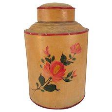 Tole Painted Folk Art Canister. Old Tole Painted Can. Farmhouse.