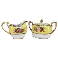 Noritake Hand Painted Creamer and Sugar Bowl. Made in Japan, Yellow, Gold and White