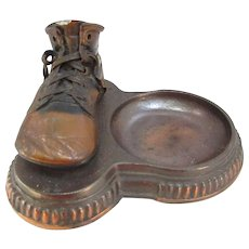 Old Bronzed Baby Shoe and Tray. Vintage Display Piece.