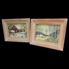 Set of 2 Framed Barkcloth Scenes in Light Wooden Frames. VINTAGE Riverdale Fabric.  Bark Cloth.  Framed with Glass.