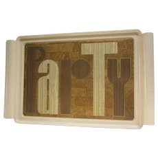 1976 Retro Plastic Serving Tray. Vintage Tan Party Tray. First Proof