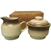 Vintage Genuine Stoneware Lidded Sugar Bowl and Creamer . Painted Desert Collection by Wallace Heritage International. NOS in Original Box. HD-10
