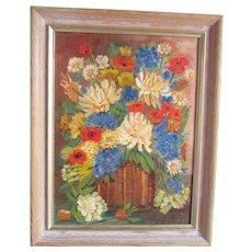 Colorful Flowers in Basket. Framed Vintage Oil Painting