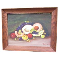 Vintage framed Oil Painting on Board.  Impressionism, Fruit Still Life. Signed 1971