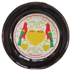Pennsylvania Dutch Pie Plate. The Kind Used Over 150 Years. Pfaltzgraff, York, PA.